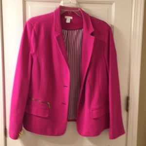 Bright pink cotton pique knit blazer